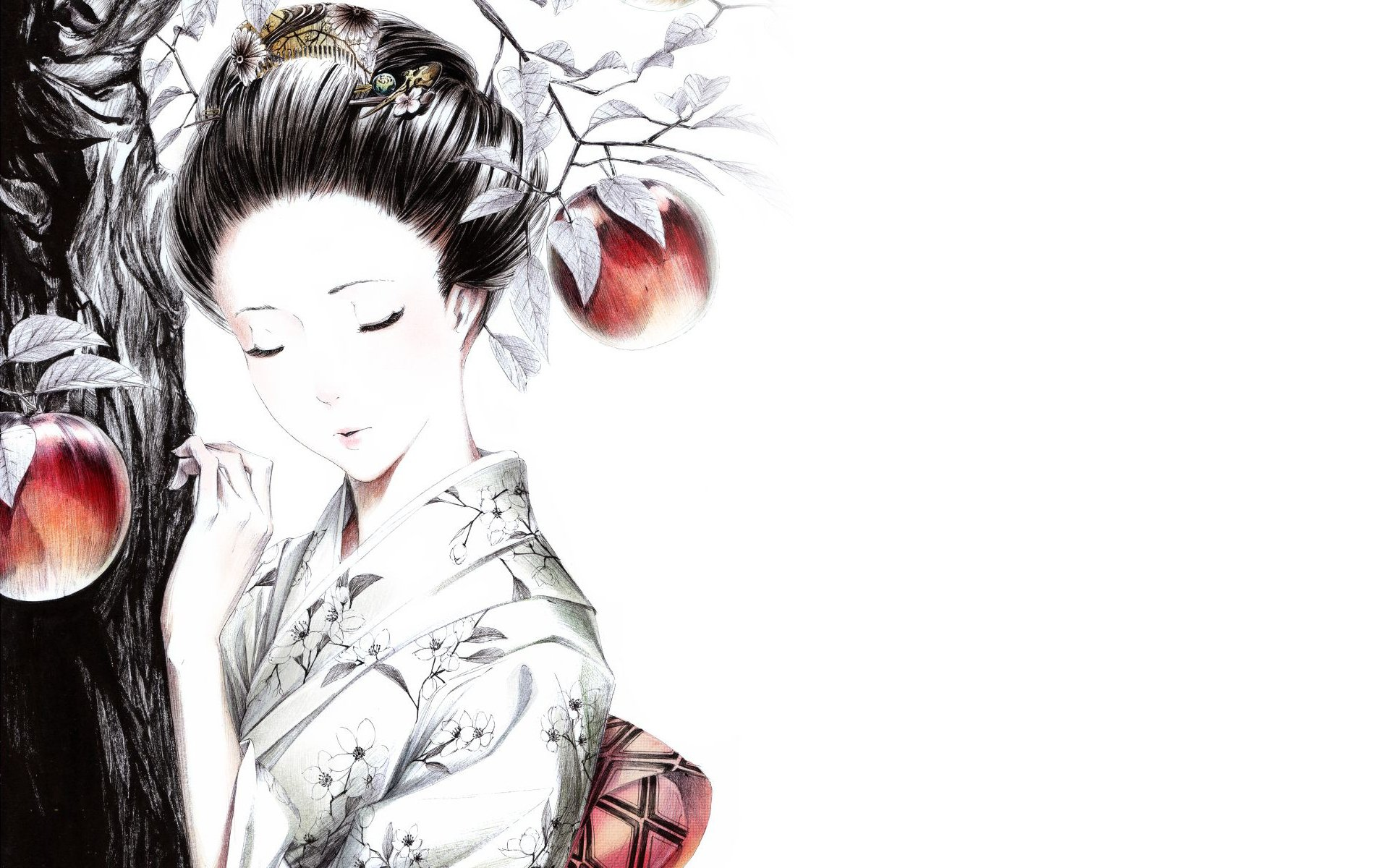 style kimano geisha apples wallpapers and images 1920x1200