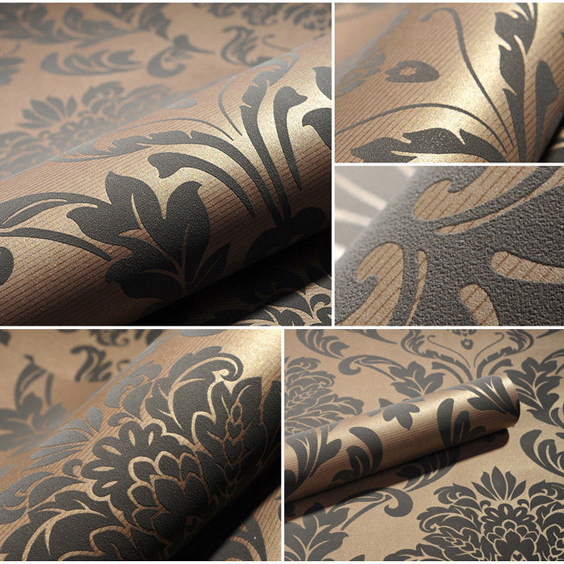 Grey Beige Damask Embossed Textured Flocking Background Wallpaper 790x790