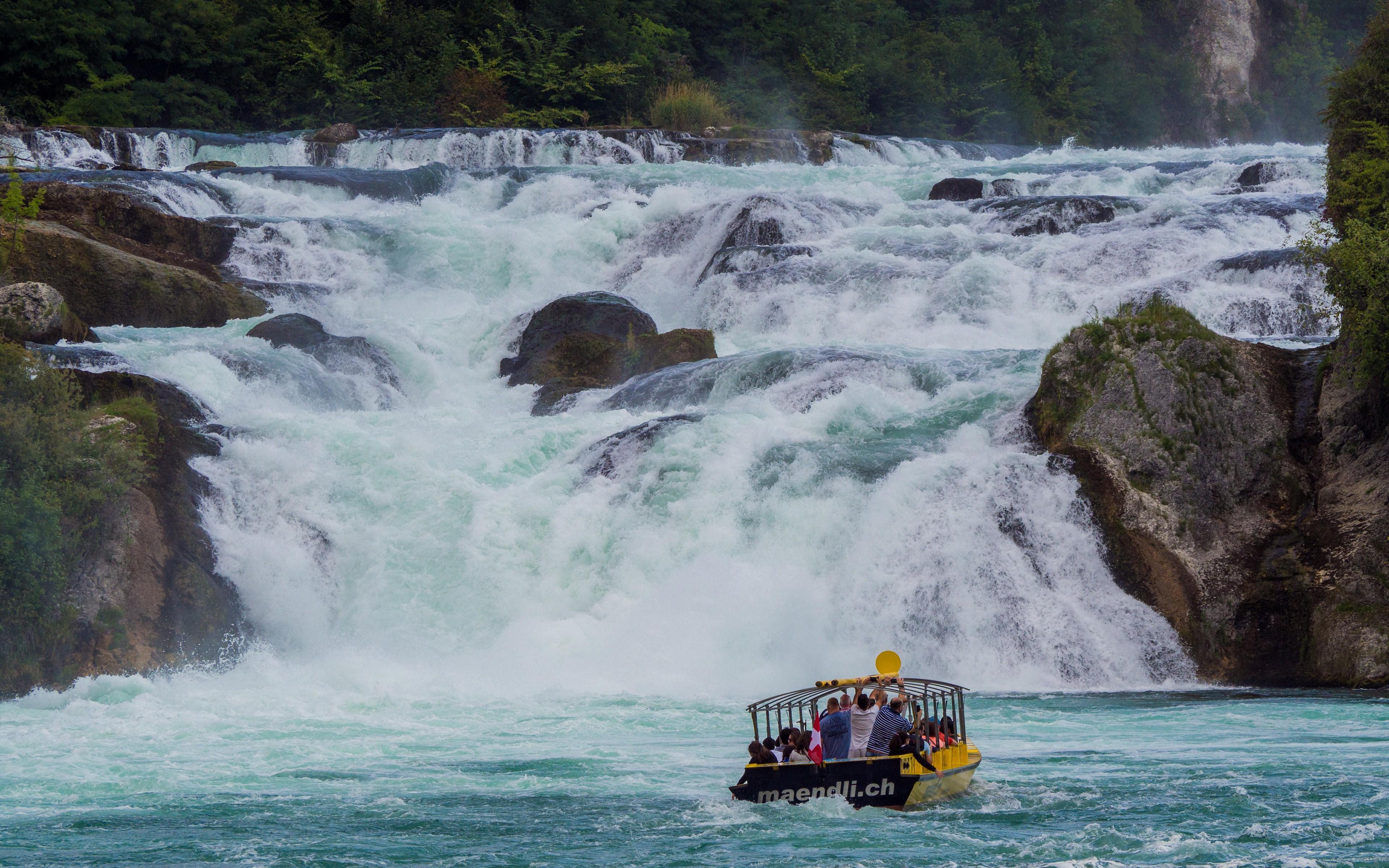 Rhine Falls Dishy Waterfall in Switzerland 4K Wallpapers HD 3840x2400