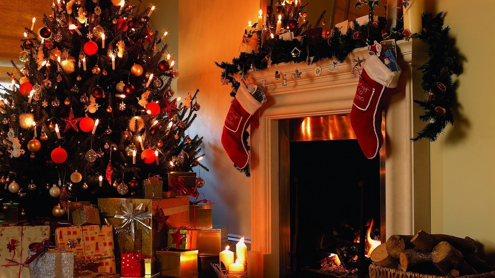 christmas tree and fireplace wallpaper christmas tree nature wallpaper 1600x900