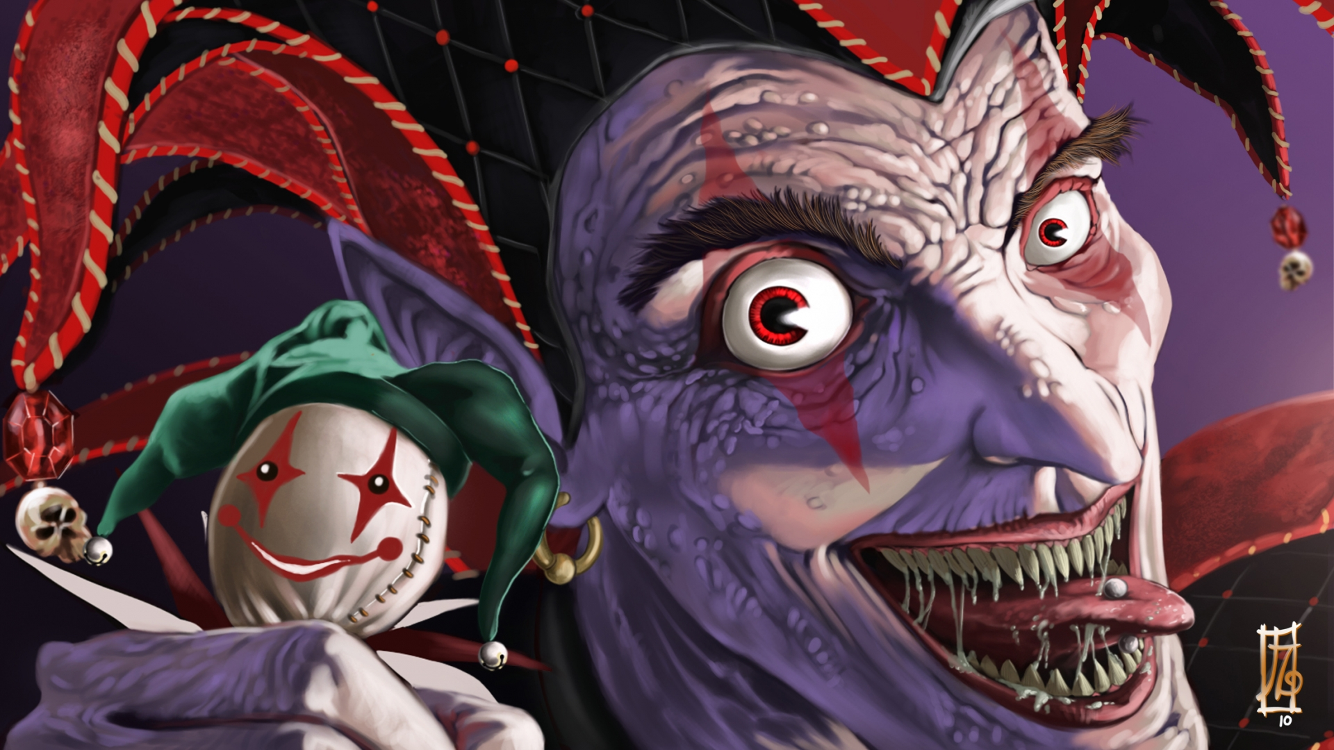 spooky evil fangs makeup clown faves eyes pov art cartoon wallpaper 1920x1080