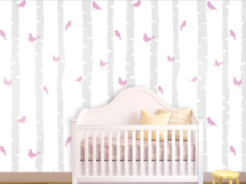 Wallpaper for nursery wallpapersafari for Baby room wallpaper