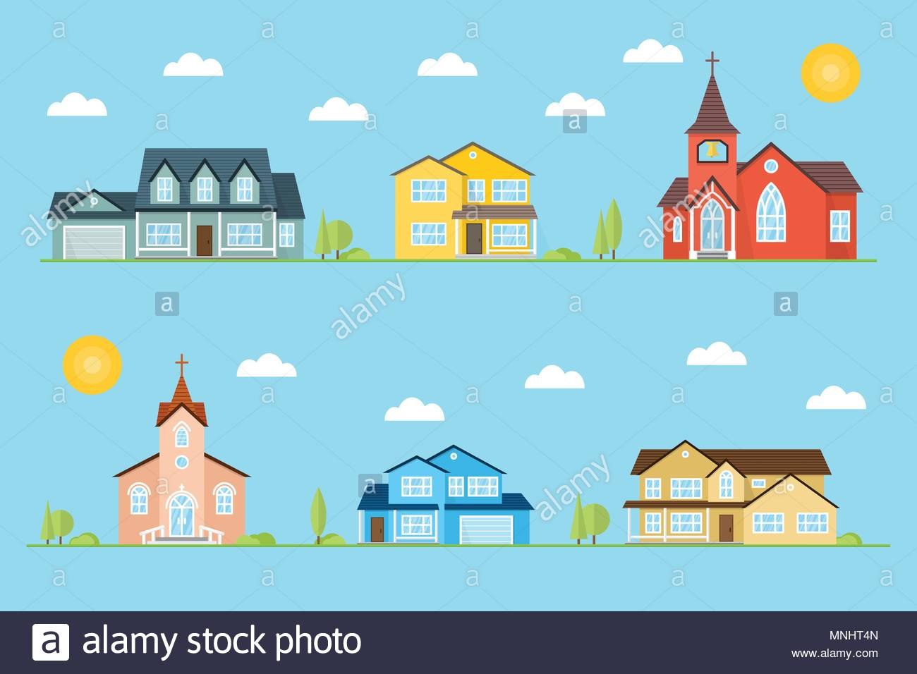 Neighborhood with homes and churches illustrated on the blue 1300x956