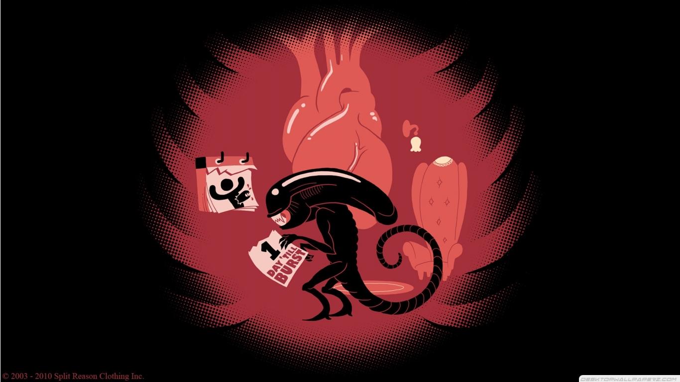 Red And Black Humor Funny Artwork Aliens 1366768 74656 HD Wallpaper 1366x768