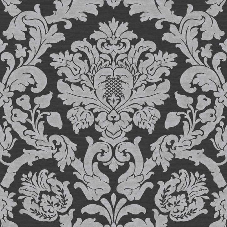 Black Silver   Glitter   V416 05   Kensington Damask   Ideco 724x724