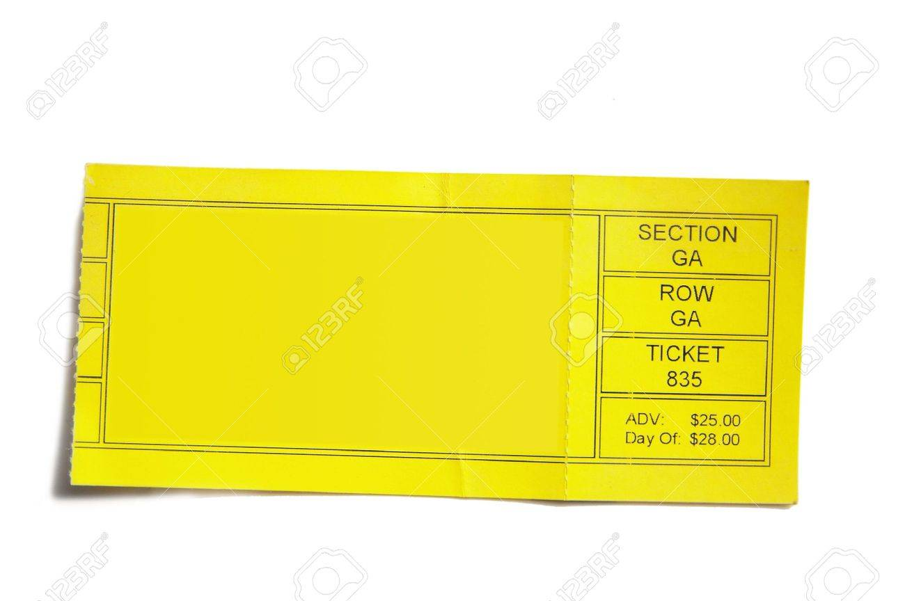 Yellow Event Ticket Stub Isolated On White Background Stock Photo 1300x864