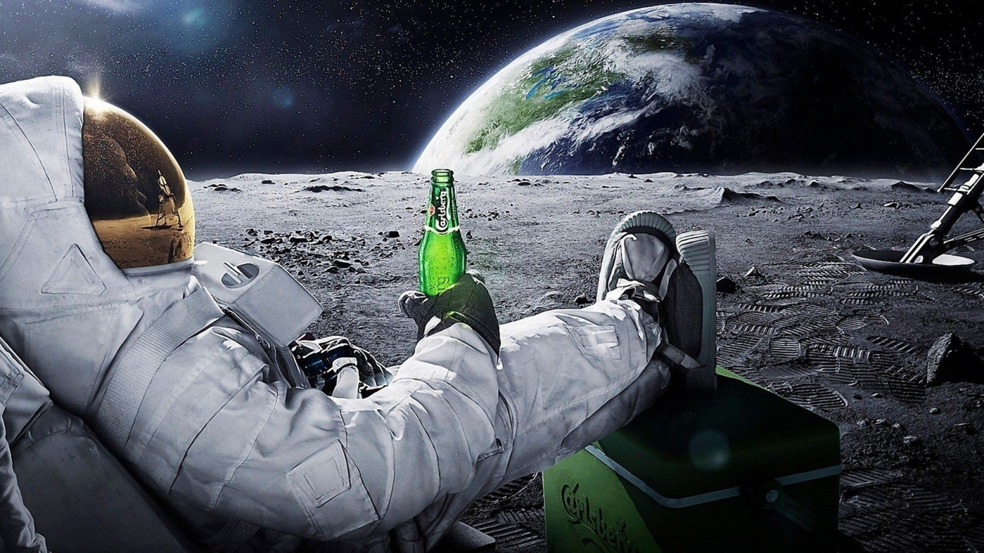 beers outer space Moon Earth funny spaceships relaxing Carlsberg space 1920x1080