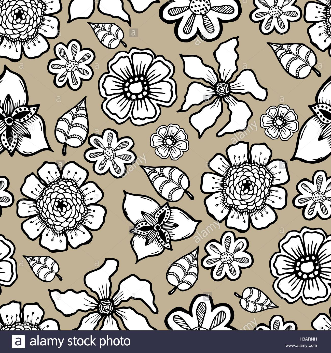 Ornate floral pattern with flowers Doodle sharpie background 1300x1389