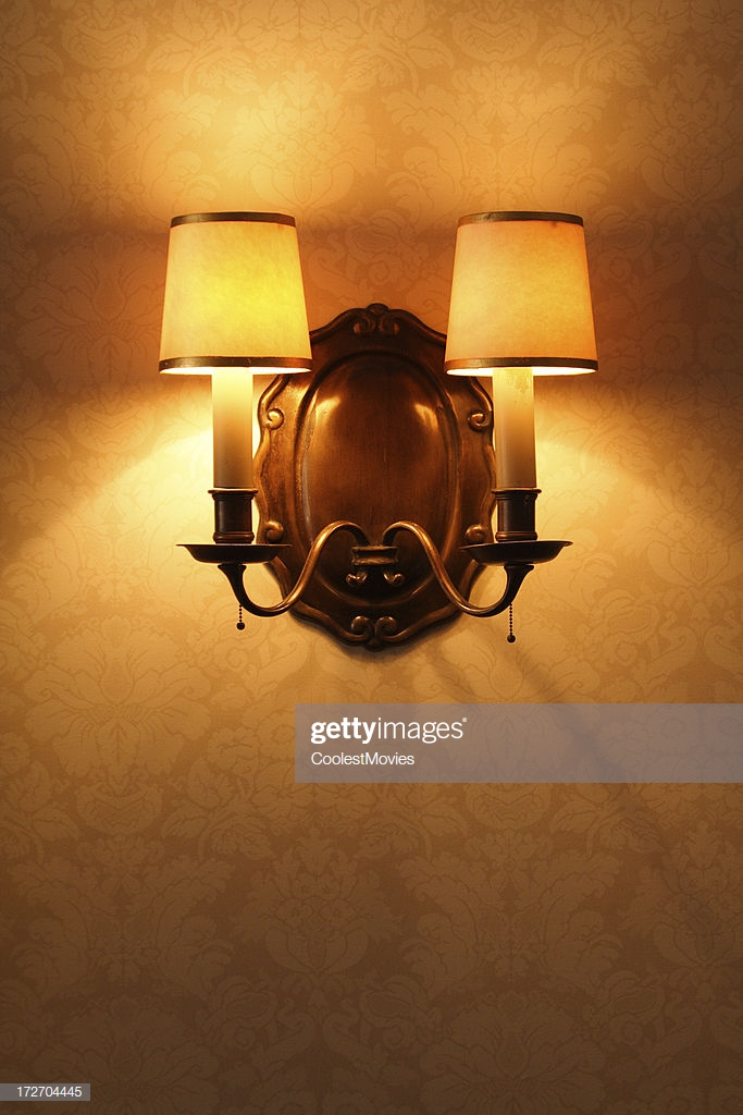 Antique Lighting Fixture Against Old Patterened Wallpaper 683x1024