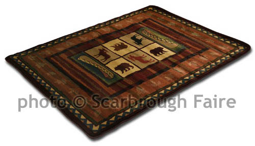 and Bear Lodge Area Rug Rustic Log Cabin 8 x 11 Scarbrough Faire 500x287