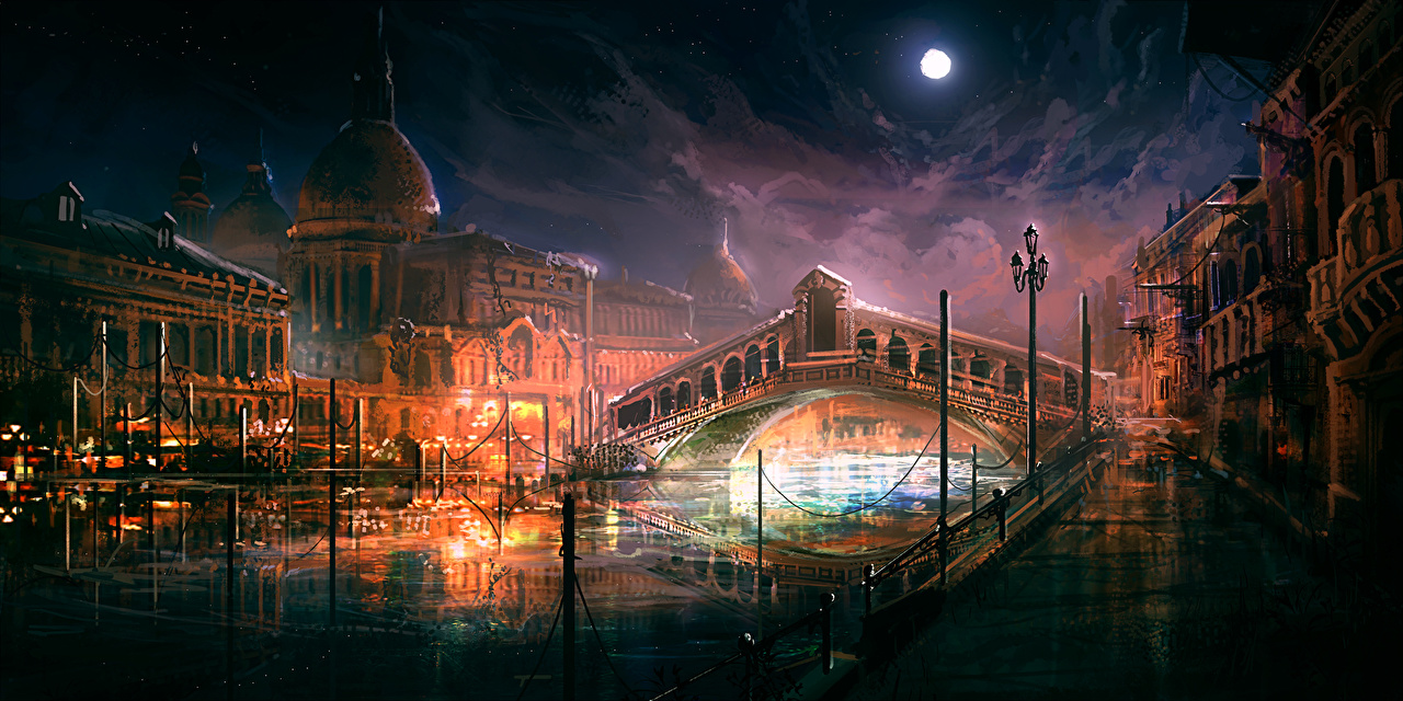 Pictures Venice Italy Bridges Night Cities Painting Art 1280x640