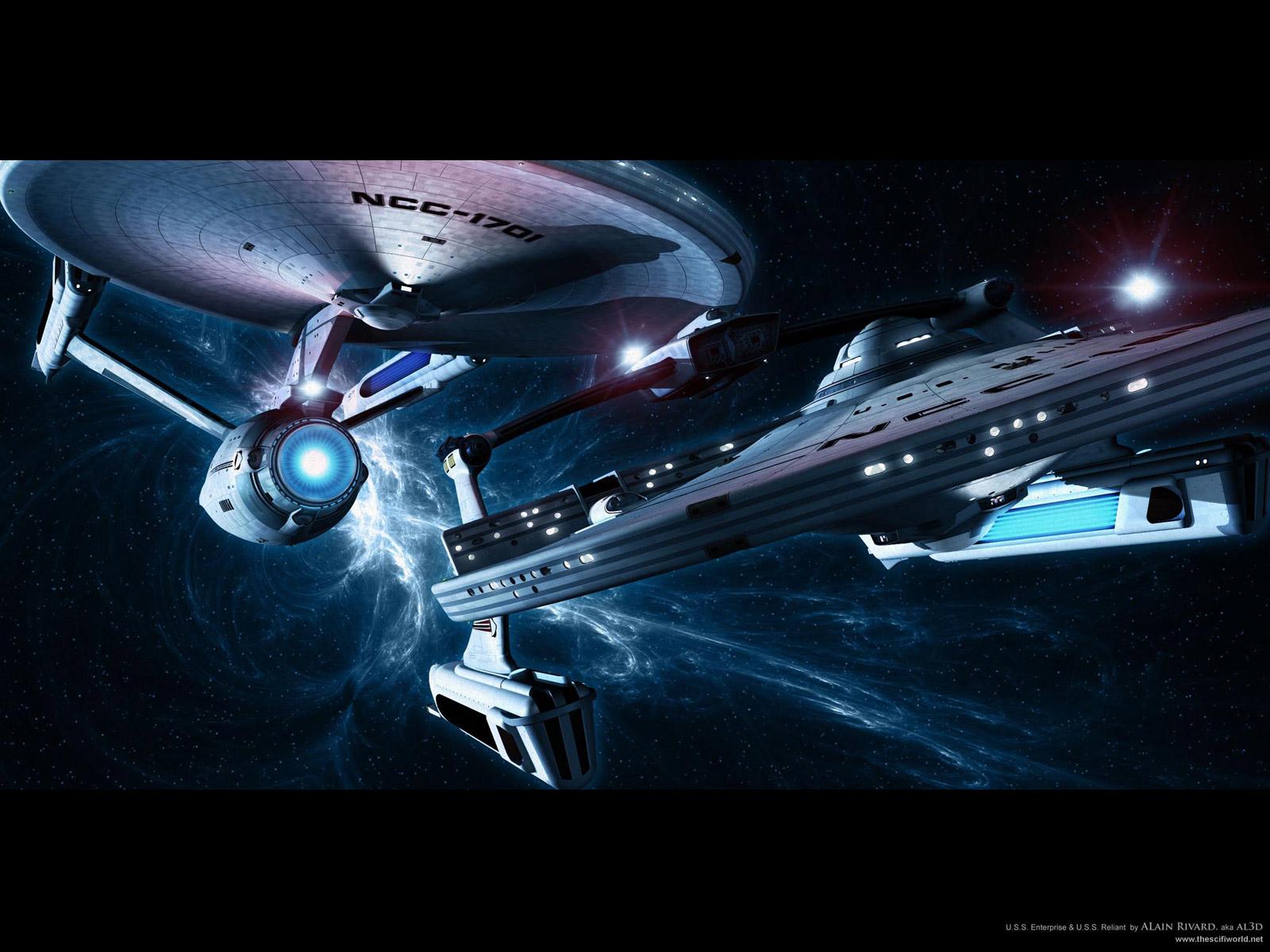star trek starships uss enterprise and uss reliant on sector patrol 1600x1200