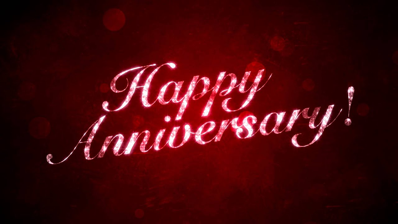 Happy Anniversary on Red   HD Background Loop 1280x720