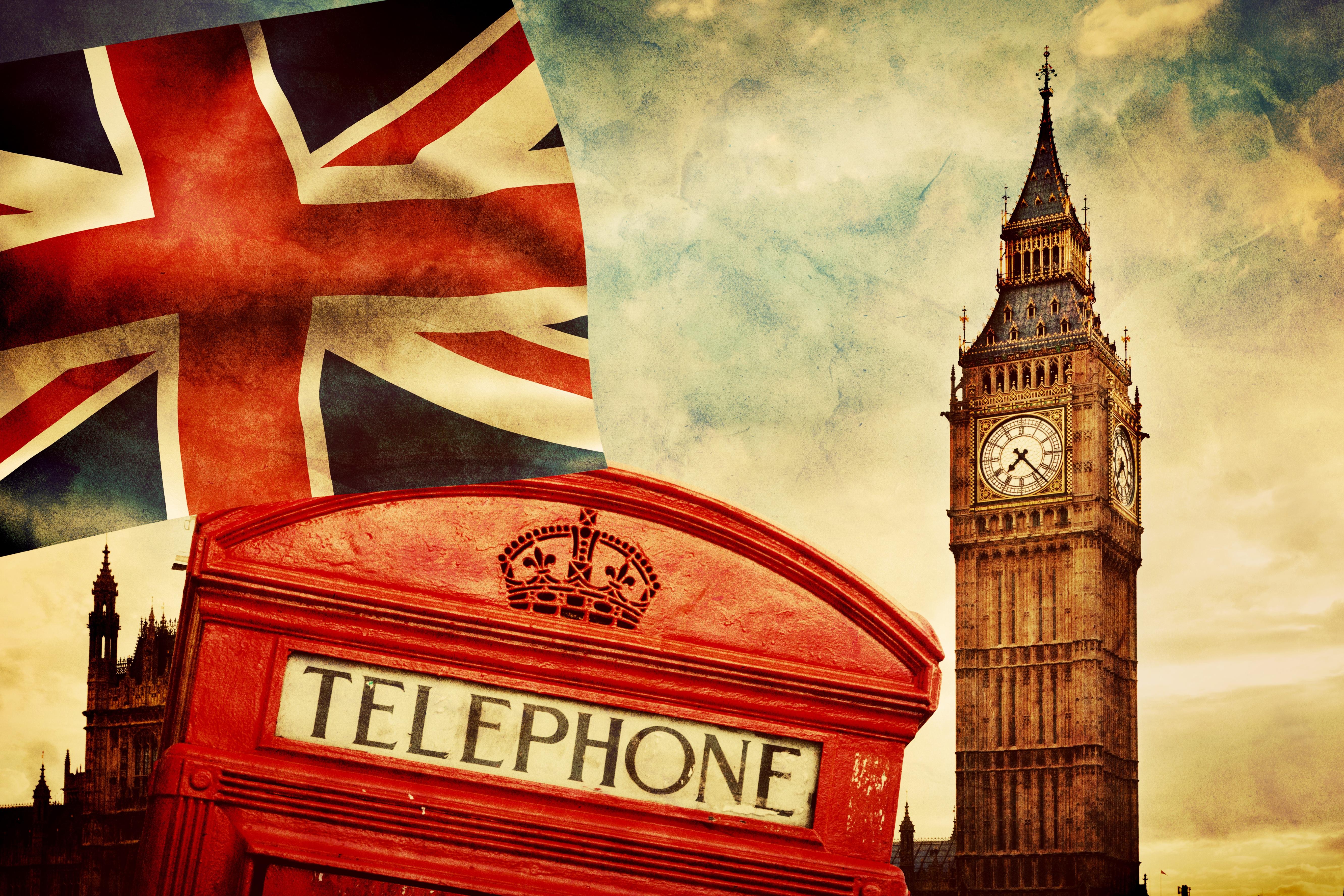 england london telephone vintage british flag big ben 5325x3550