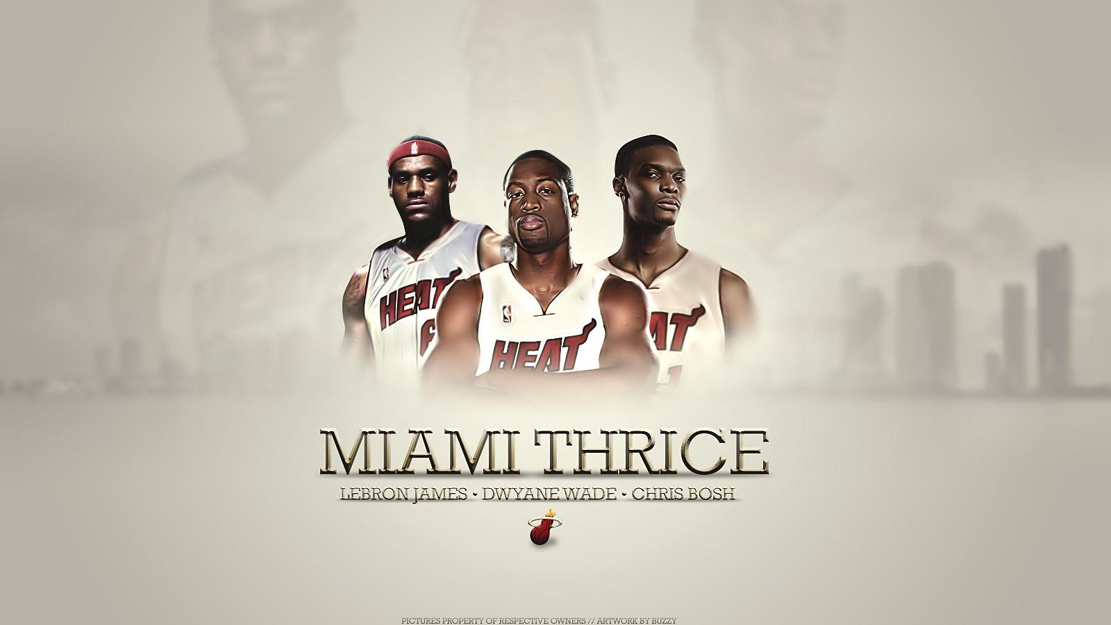 Miami Thrice Wallpaper LeBron Wade Bosh NBA Wallpaper 1600x900