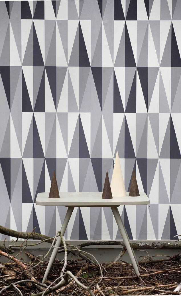 Geometric Wallpaper   Spear In Grey Ferm Living Geometric Wallpaper 635x1036