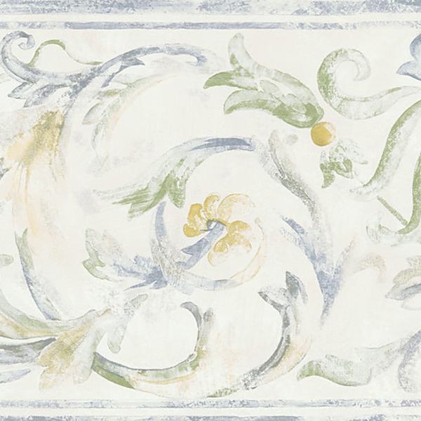 451 1629 White Folk Scroll   Brewster Wallpaper Borders 600x600