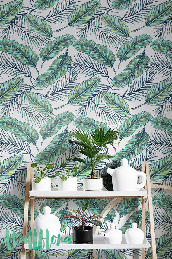Seamless Tropical Jungle Palm Leaves Pattern   Removable Wallpaper 570x855