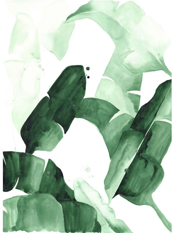 beverly 1 banana leaf tropical watercolor print green leaves the 600x800