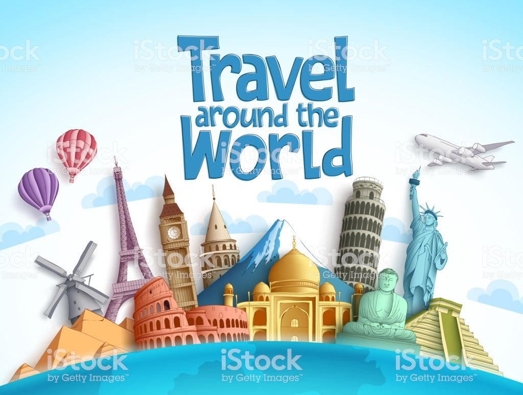 Travel Around The World Vector Background Design With Famous 1024x775