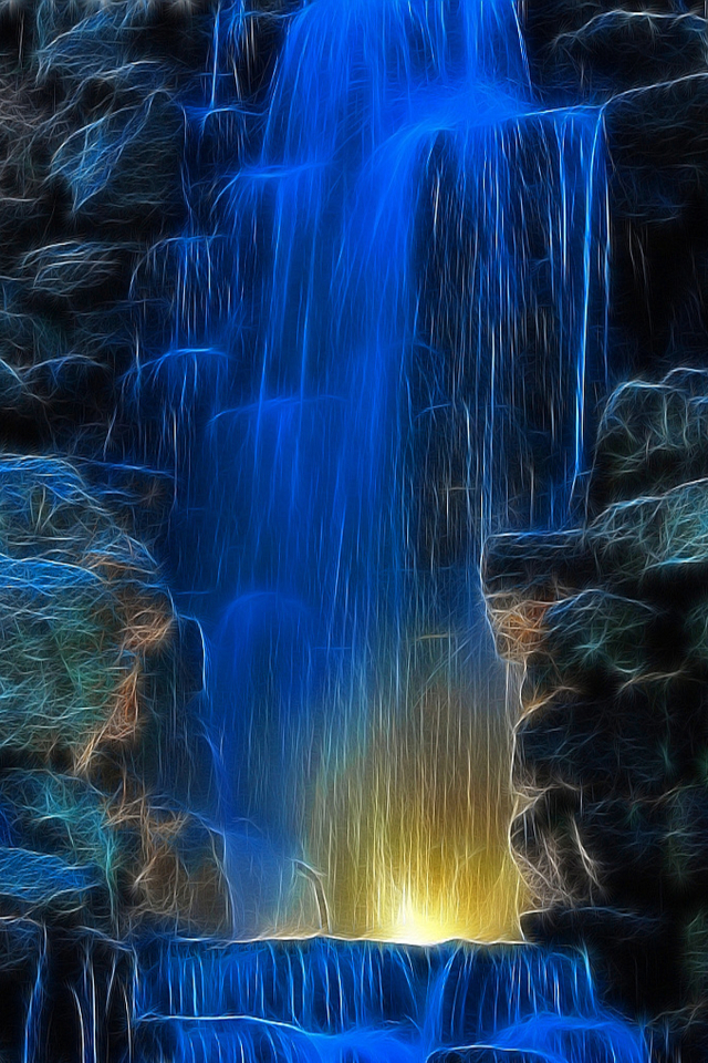 Blue Waterfall 640x960 Screensaver Wallpaper Pictures 640x960