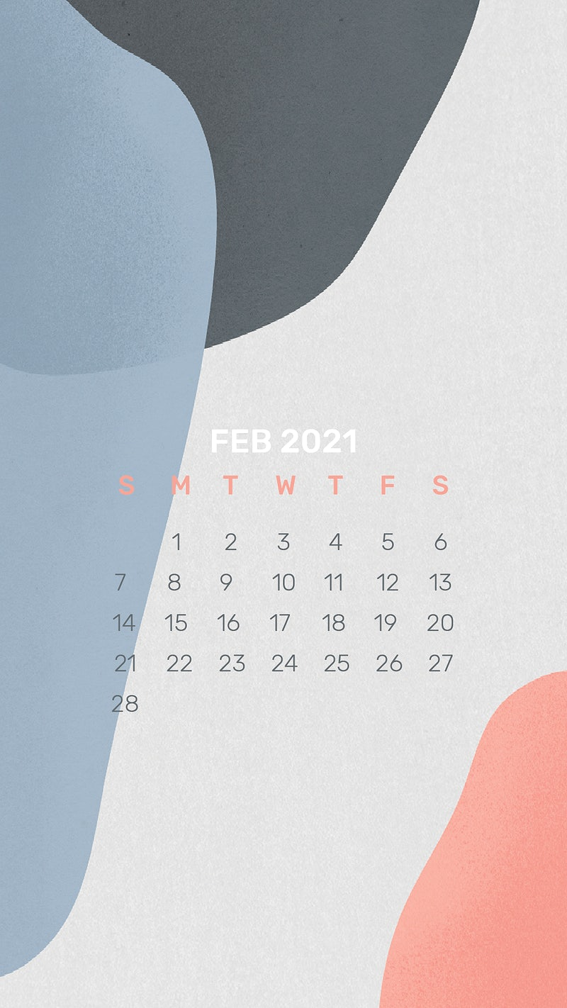 Calendar 2021 February template phone wallpaper psd abstract