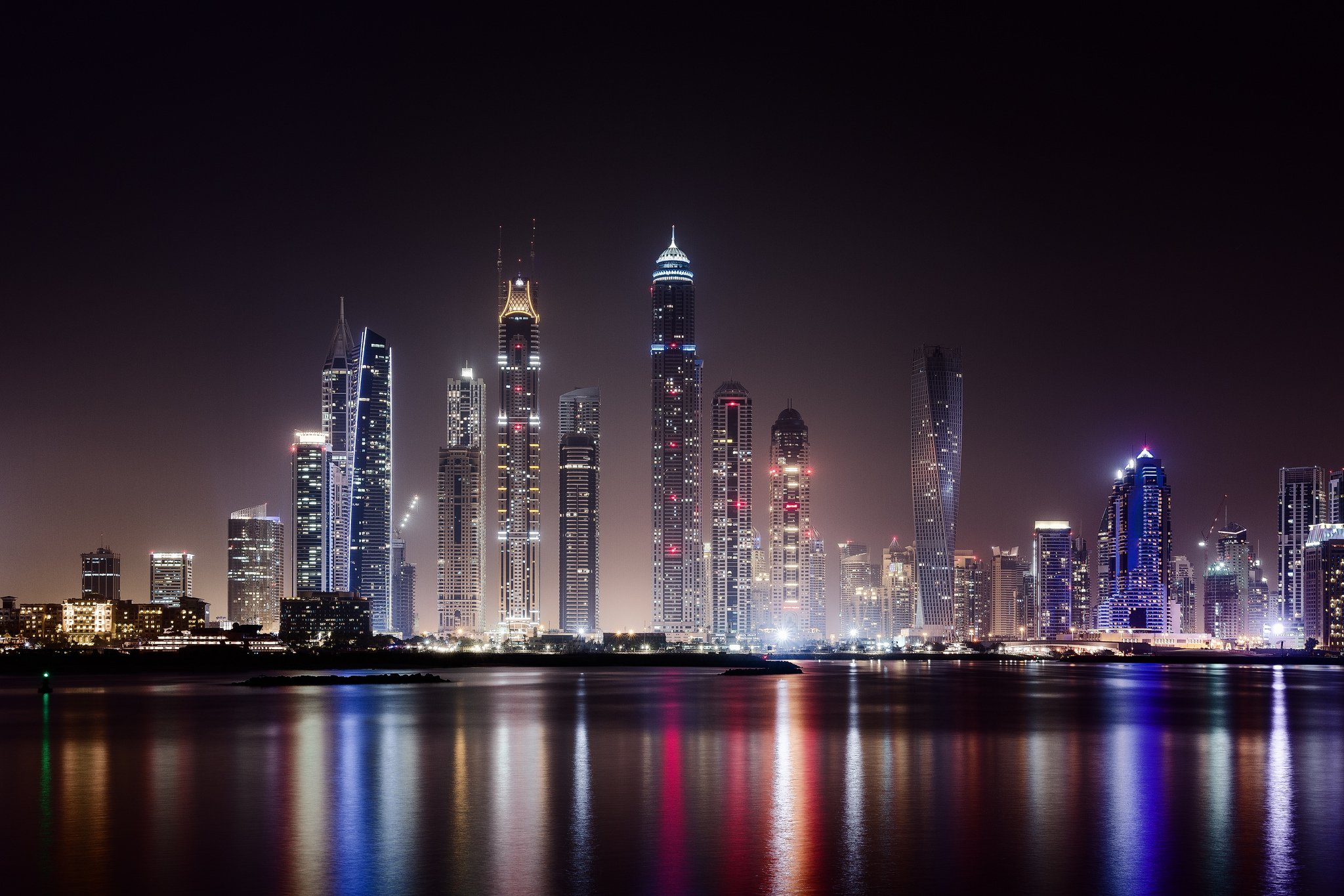 city Dubai city night wallpaper hd skyscraper lights desktop hd 2048x1365