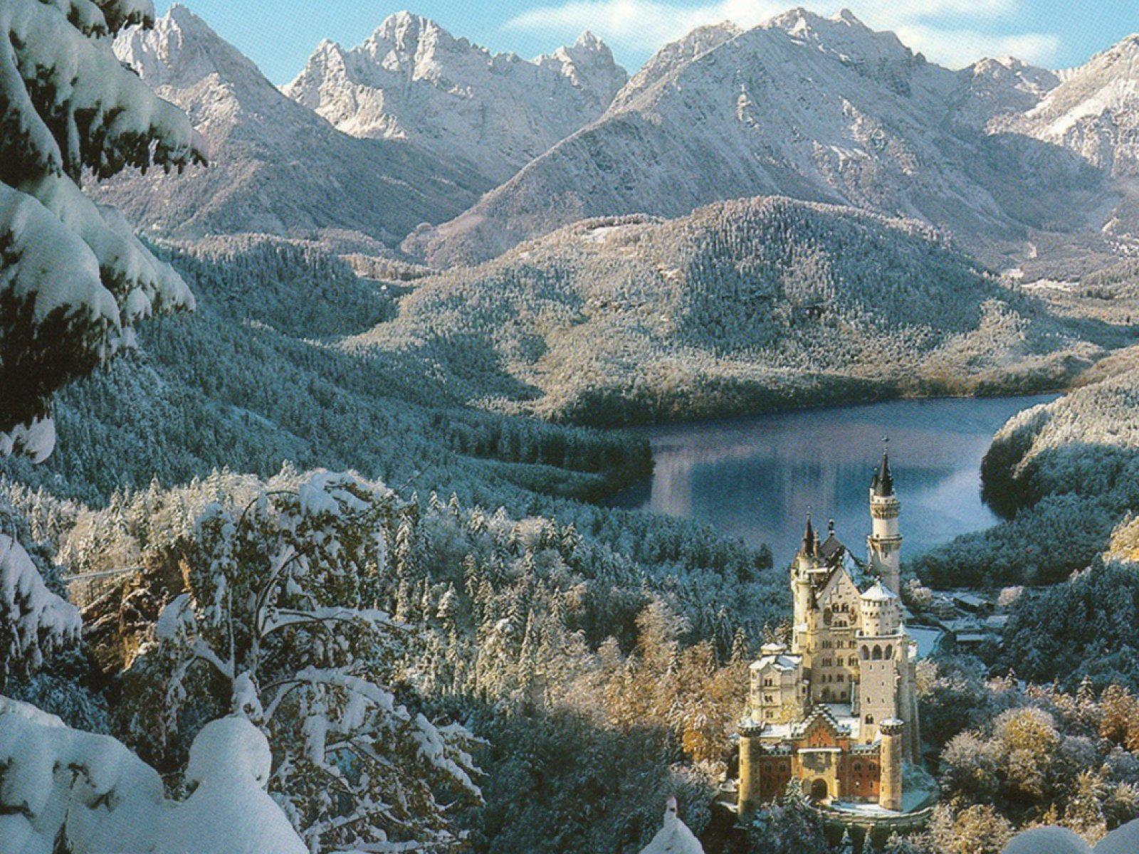 Neuschwanstein castle in Winter Germany 4 computer desktop wallpaper 1600x1200