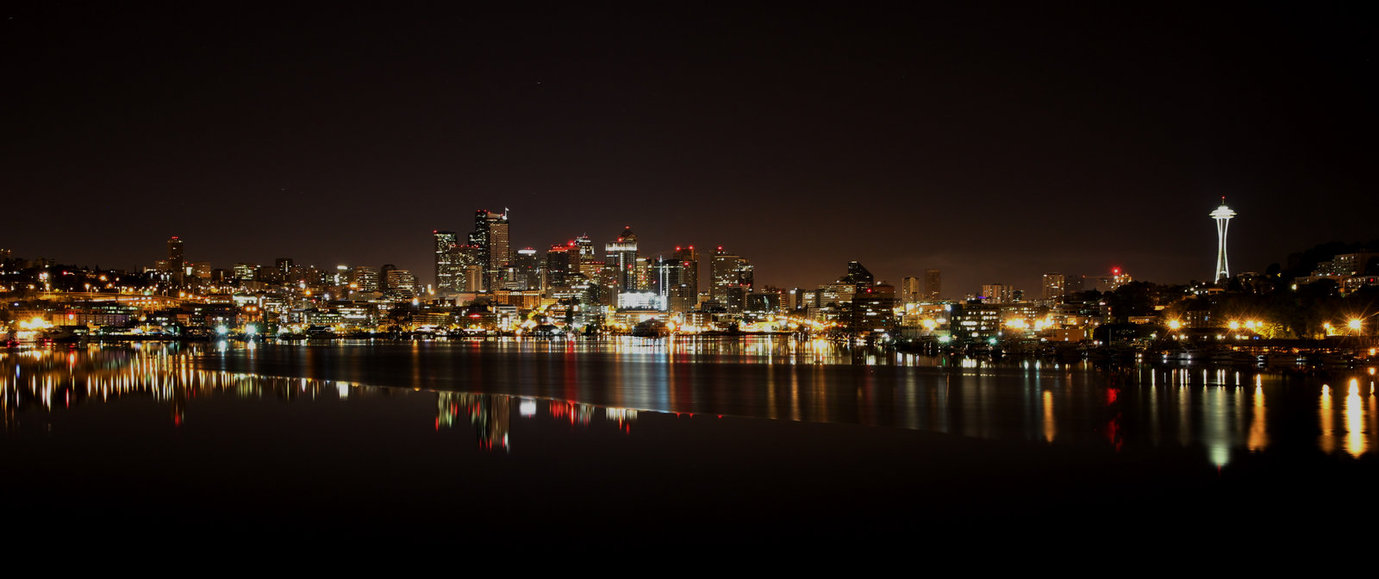 Seattle at night by limitlis 1379x579