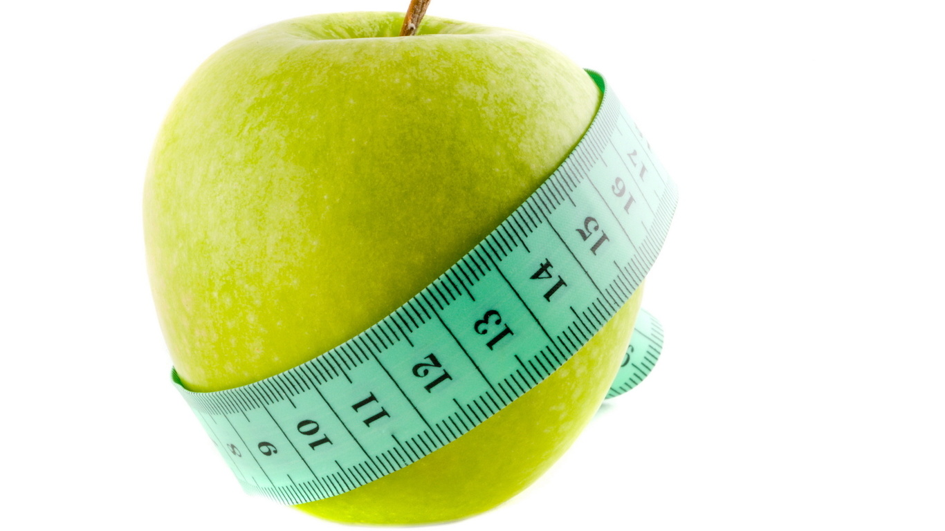 Wallpaper apple measuring tape Food widescreen on the desktop 1366x768