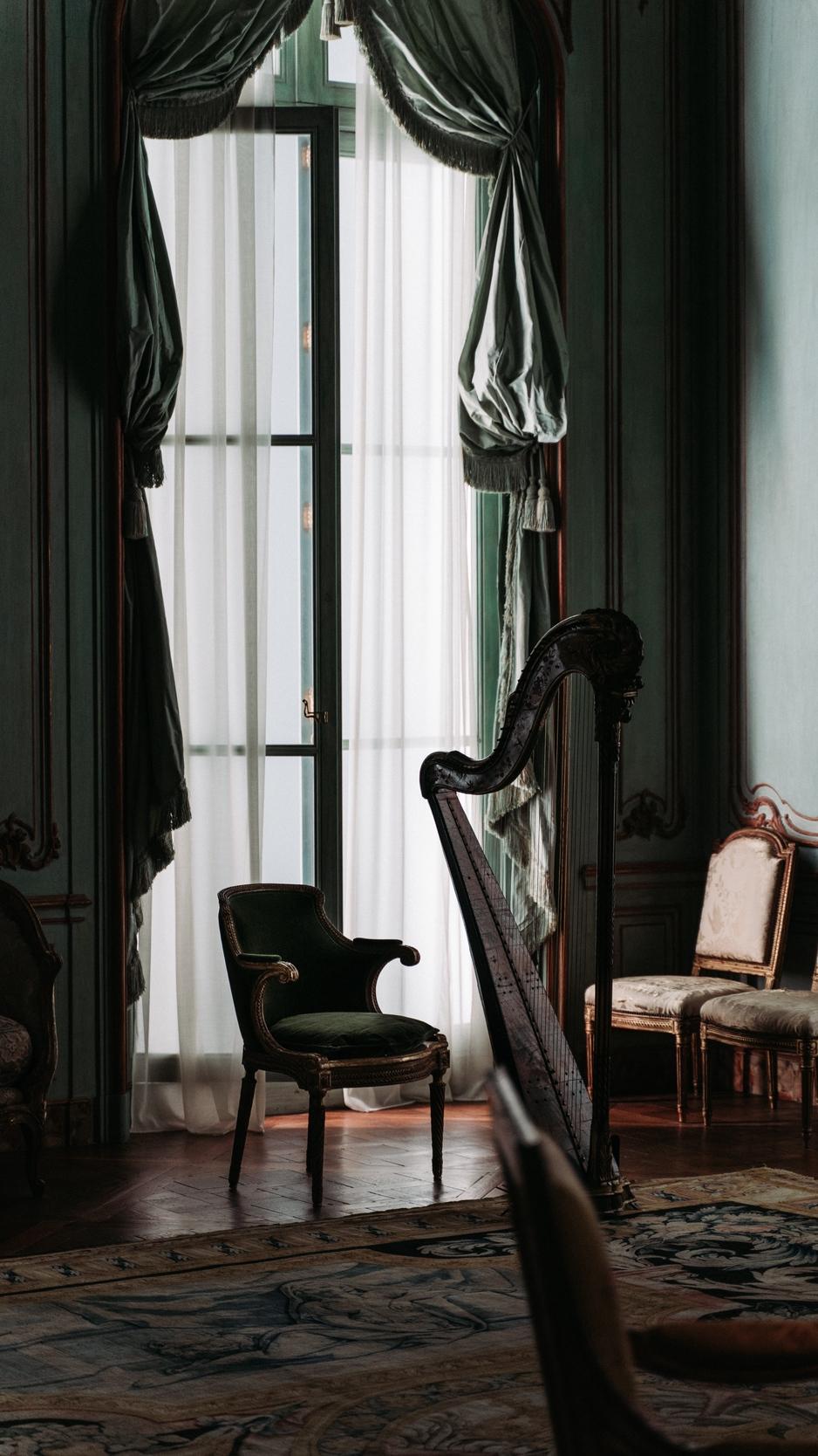 Download wallpaper 938x1668 room interior furniture harp 938x1668