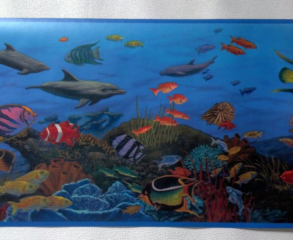 Under The Sea with Fish and Sea Creatures Wallpaper Border CK10143B 1000x820