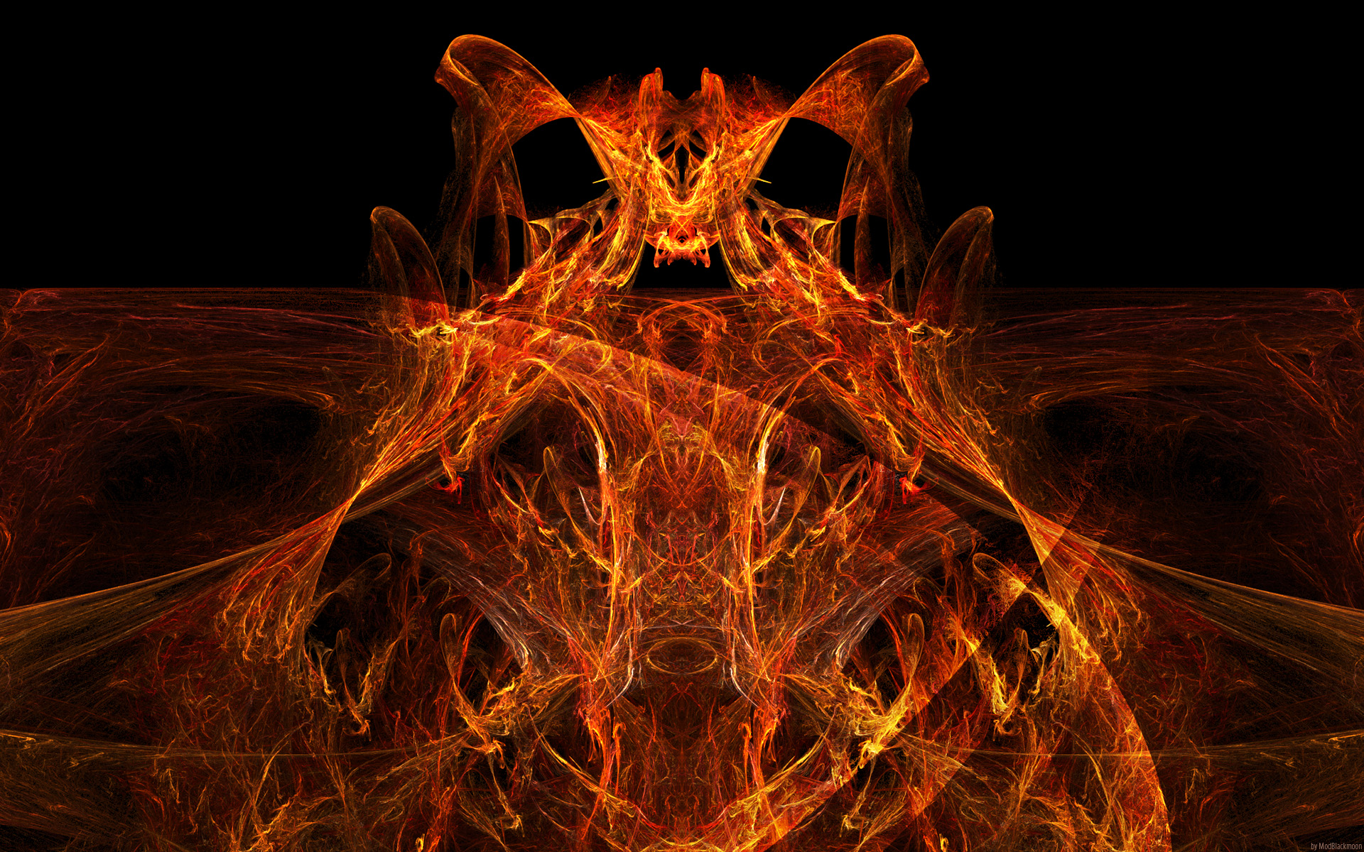 Abstract Demon Lord fractal red infernal flames Wallpaper 1920x1200