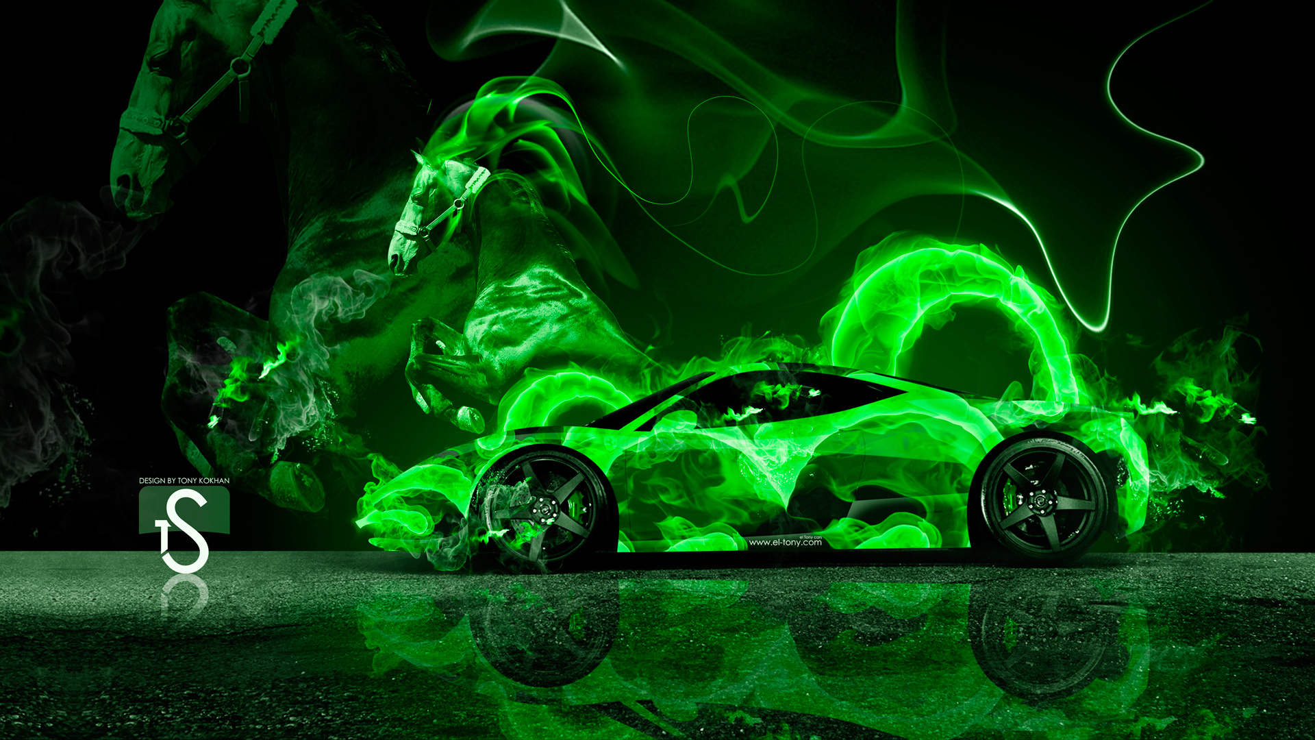 Green Fire Wallpaper Background Green Flame Wal...