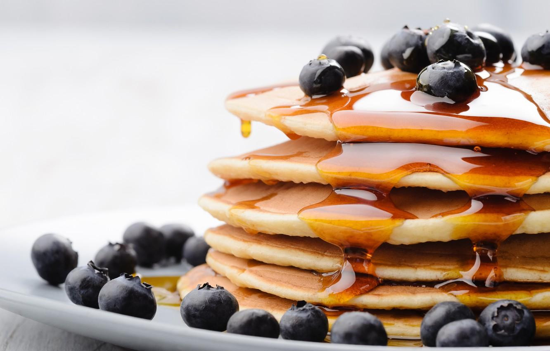 Wallpaper berries food blueberries honey honey pancakes 1332x850