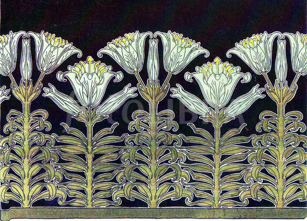 Art Nouveau Lilies wallpaper design An Art Nouveau block repeat 624x448