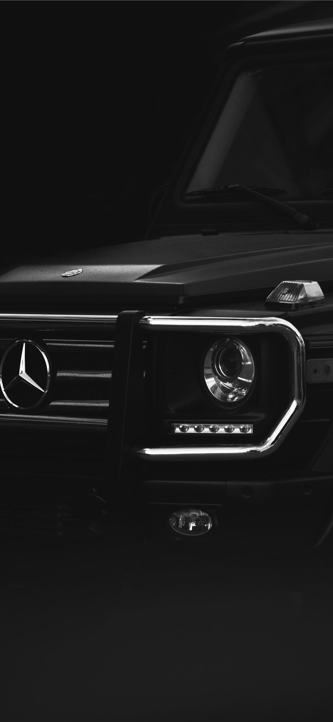 black Mercedes Benz car iPhone X Wallpapers Download 1125x2436