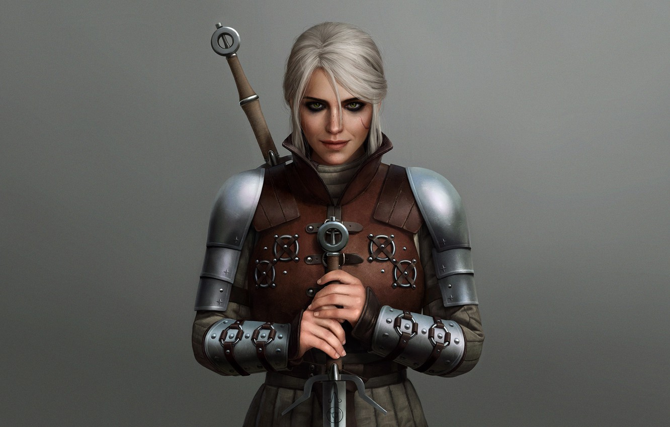 Wallpaper girl sword the Witcher armor The Witcher 3 Wild Hunt 1332x850
