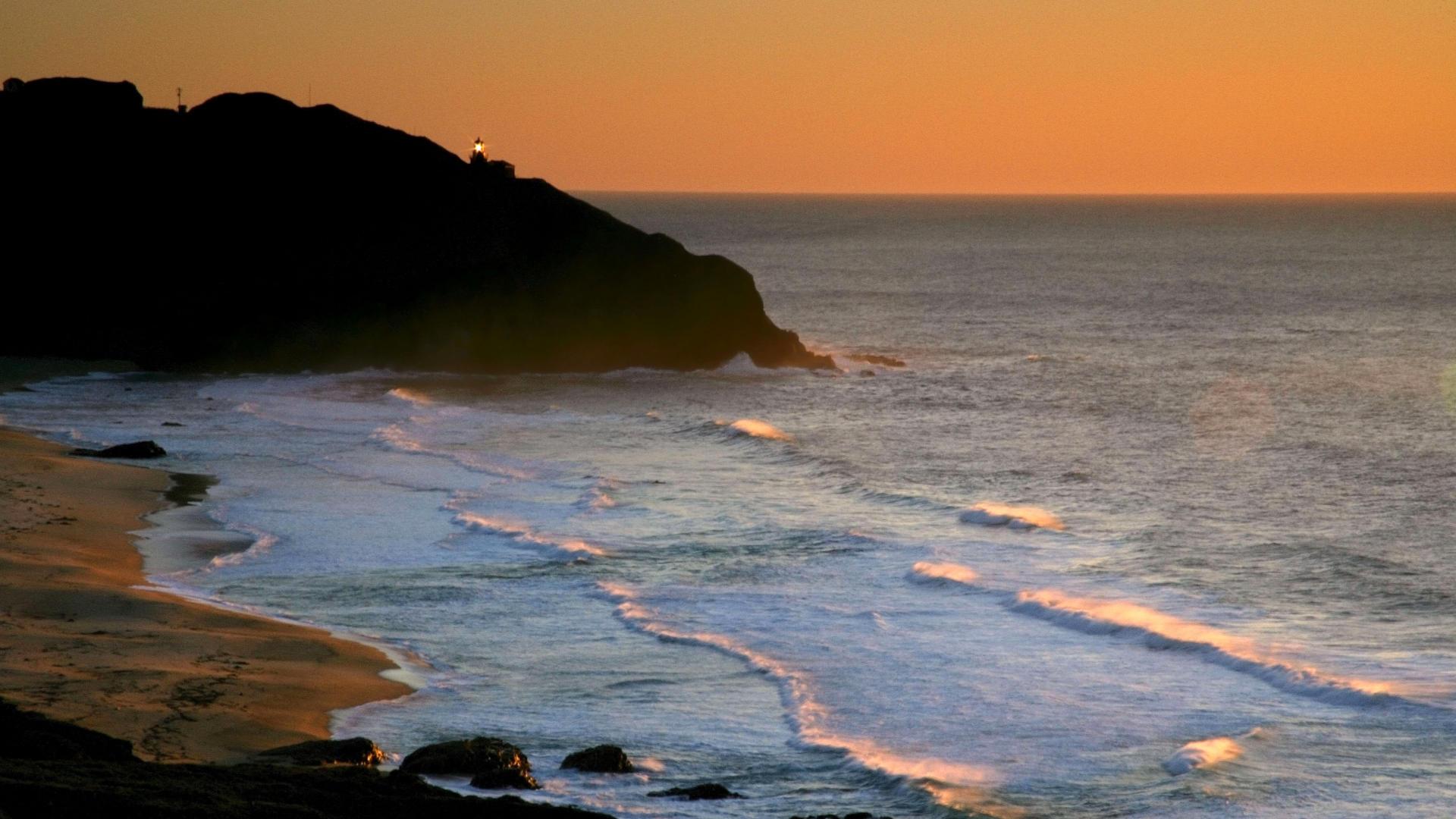 Backgrounds Desktop California Coast Lightstation Point Beach Sunset 1920x1080