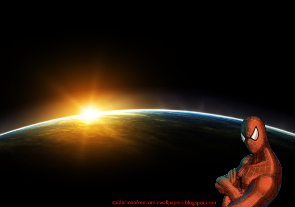 Wallpapers Spiderman watching you as you work in Space Eclipse Desktop 1000x700