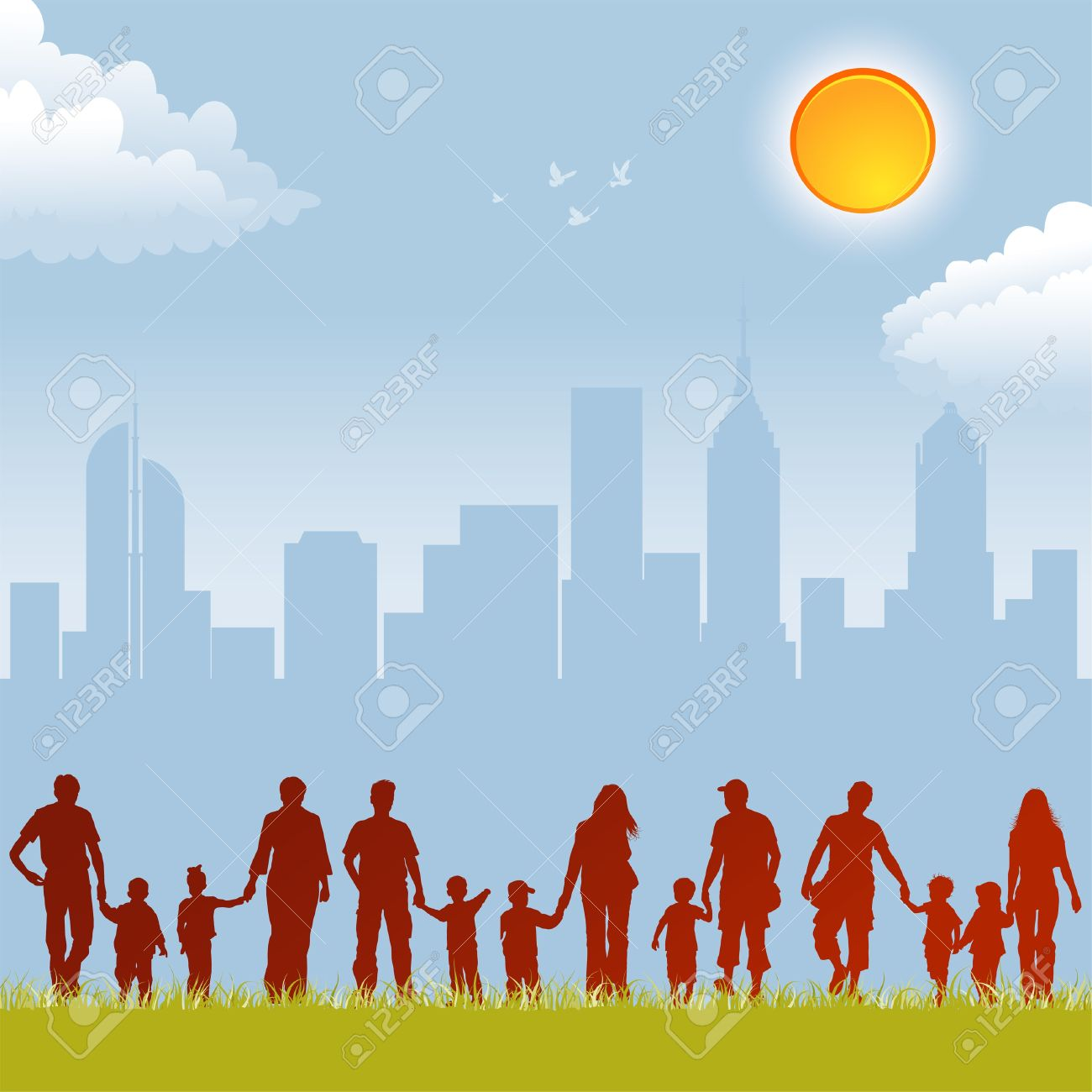 Big Collect Silhouettes Of Parents With Children On Urban 1300x1300