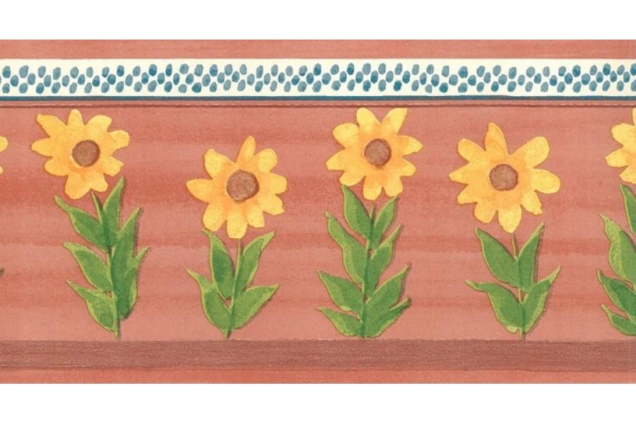 Old Rose Sunflower Wallpaper Border 900x600