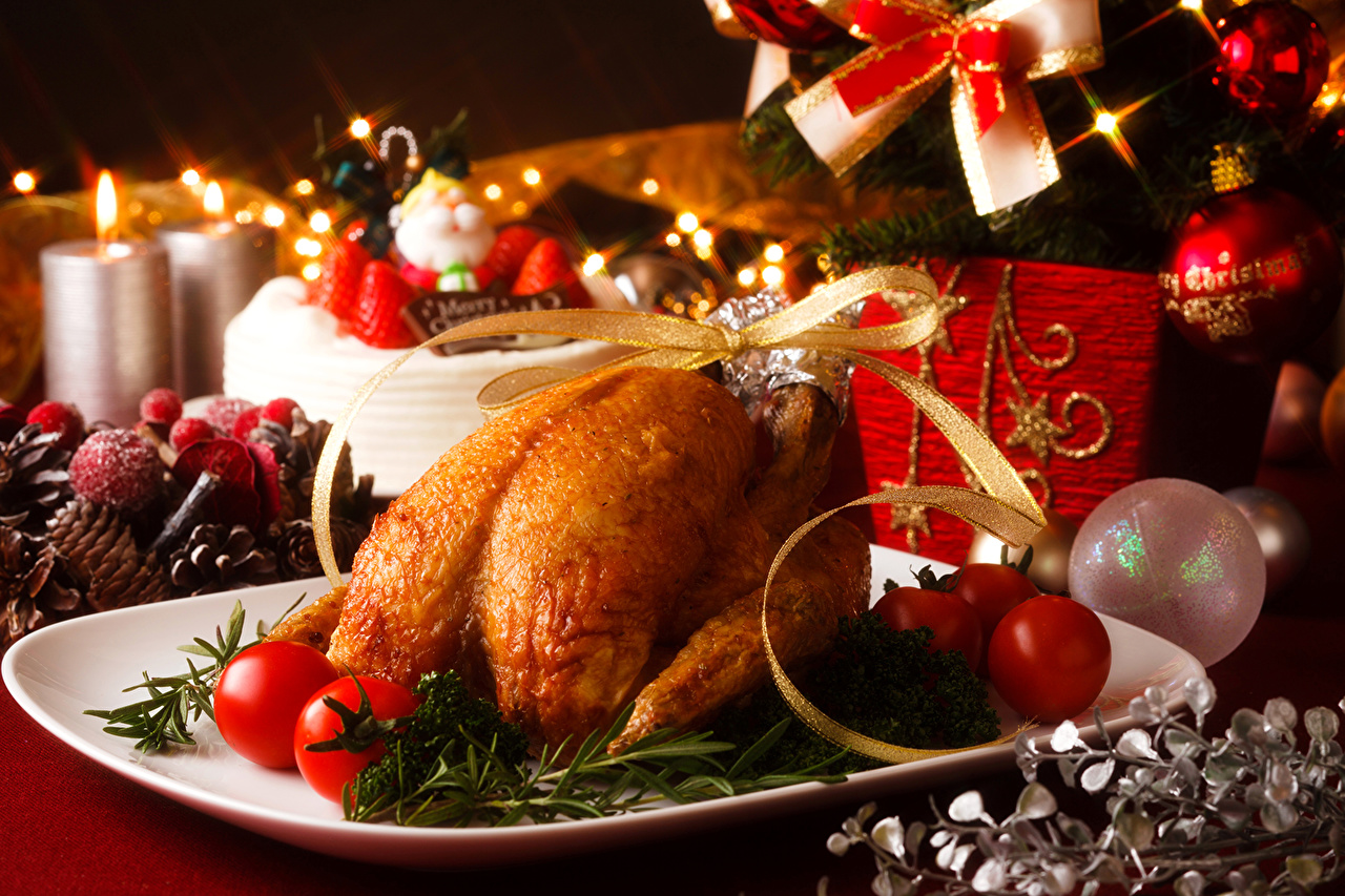 Wallpaper Christmas Tomatoes Roast Chicken Food Balls Candles 1280x853