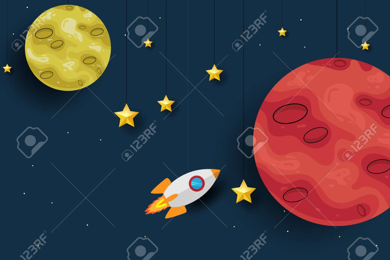 Mars Planet With Rocket Paper Art Design Background Cute Design 1300x865