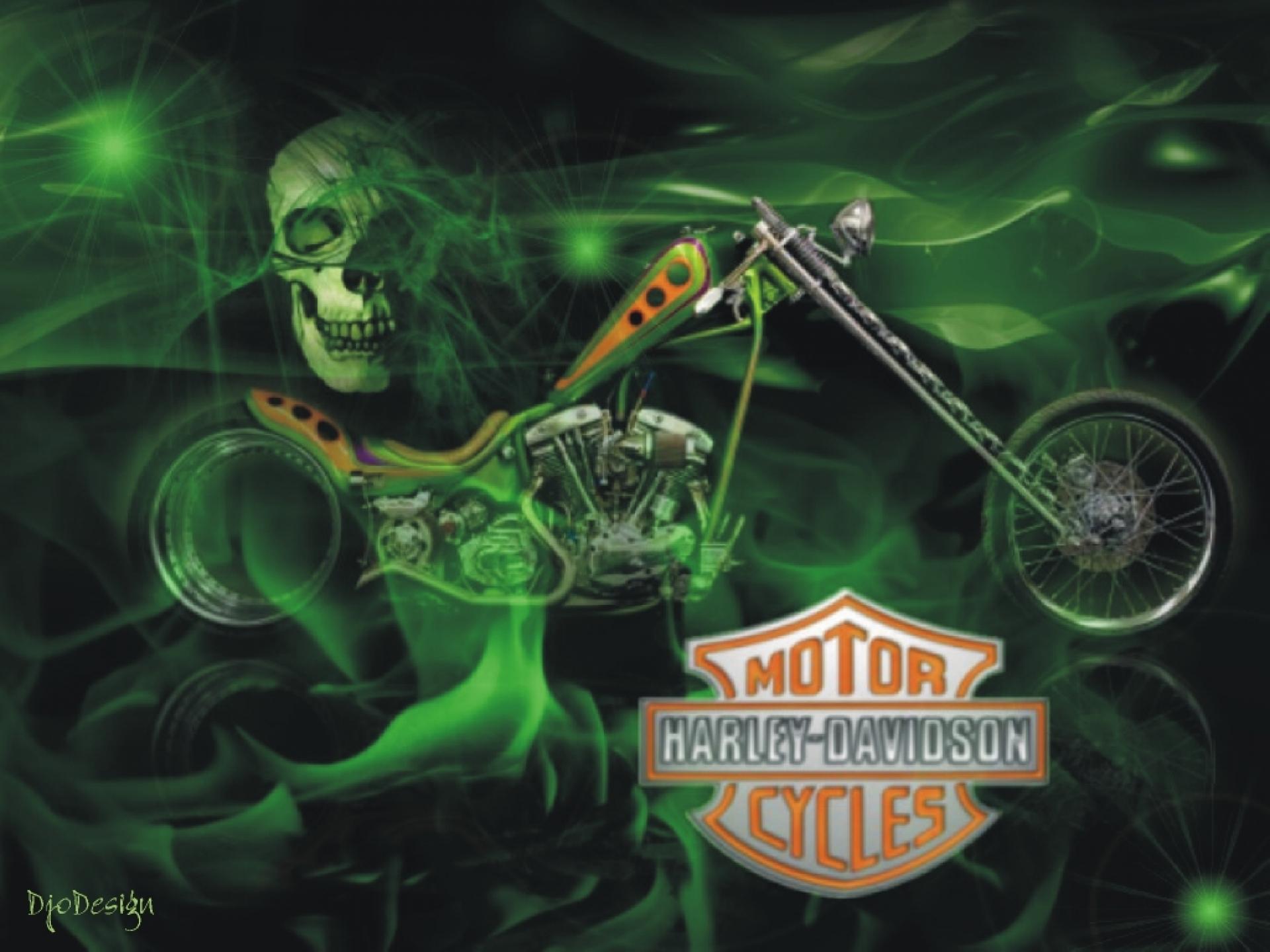 Skull Harley Davidson Green Fire Logo Motorcycle 1201676 19201440 1920x1440