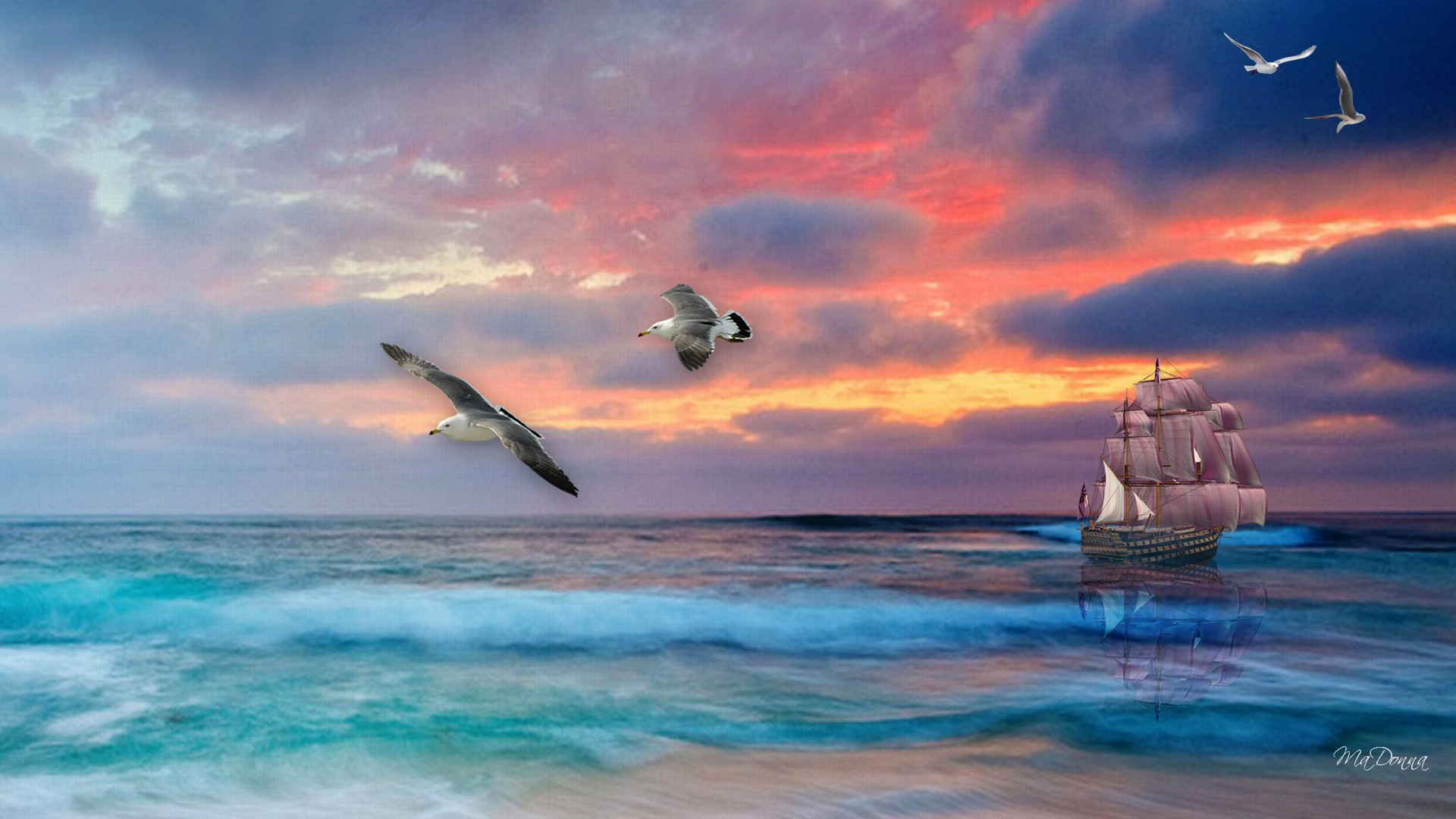 Sail Boat Sailing Sea Sunset Hd Tall Ship 289151 19201080 1920x1080