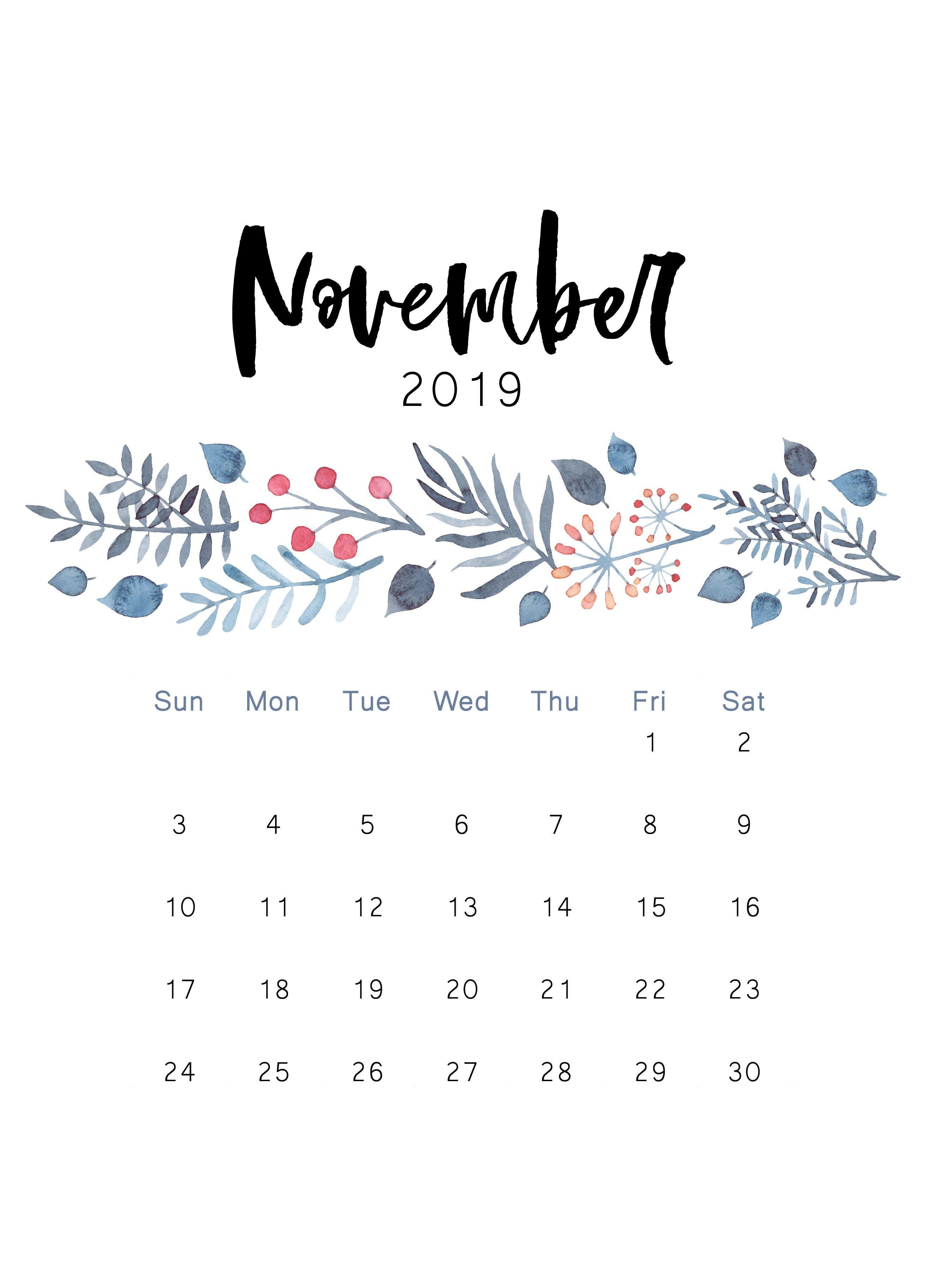 2019 printable calendar Print calendar November calendar 2623x3649