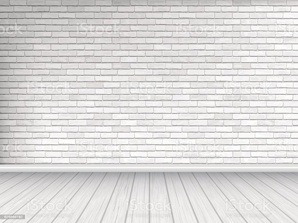 White Brick Wall And Wooden Floor Background Stock Illustration 1024x768