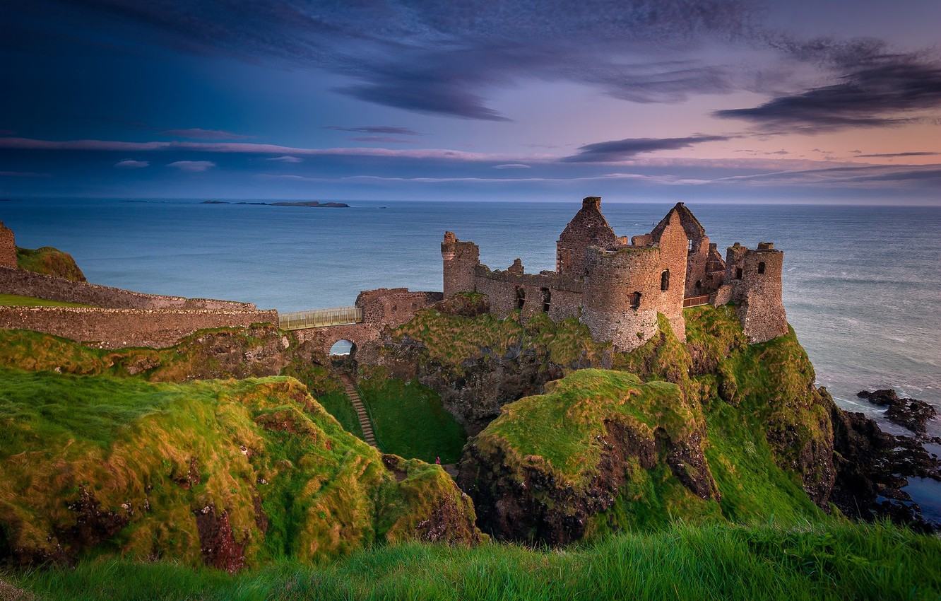 Wallpaper the evening ruins Northern Ireland Antrim County 1332x850