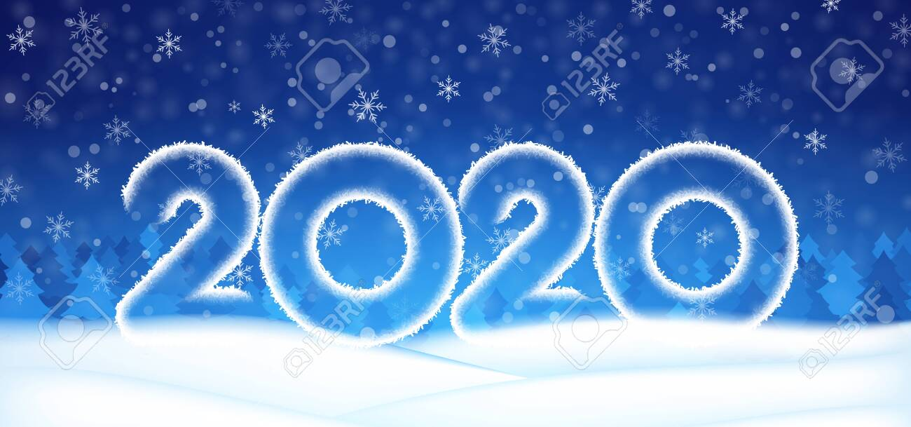 2020 Number Text Happy New Year Banner Winter Christmas Abstract 1300x609